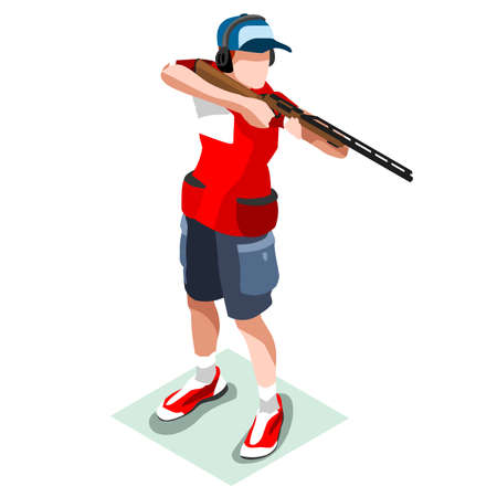 Shooting Player  Summer Games Icon Set.3D Isometric Shooter Athlete.Sporting Championship International Shooting Competition.Sport Infographic Shooting Vector Illustration Illustration