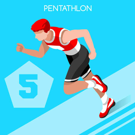pentathlon: Pentathlon 2016 Summer Games Icon Set.3D Isometric Athlete Pentathlete.Modern Pentathlon Running Swimming Shooting Fencing Equestrian Sporting Competition.Sport Infographic Pentathlon Vector Image