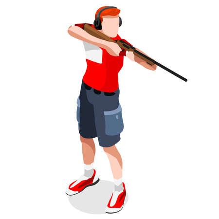 Giochi di tiro estivi Player Icona Set.3D isometrica Shooter Athlete.Sporting Campionato Internazionale di ripresa illustrazione vettoriale ripresa Competition.Sport Infografica