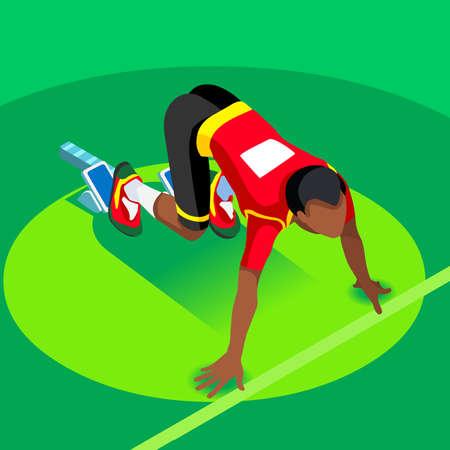 starting: Sprinter Runner Athlete at Starting Line Athletics Race Start  Summer Games Icon Set.3D Flat Isometric Sport of Athletics Runner Athlete at Starting Blocks.Sport Infographic Vector Image.