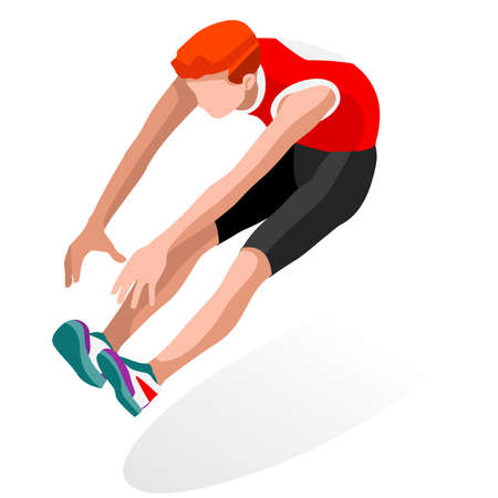 long jump: Athletics Long Jump  Summer Games Icon Set.3D Isometric Athlete.Sporting Championship International Athletics Competition.Sport Infographic Athletics Long Jump Vector Illustration Illustration