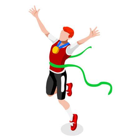男陸上夏の勝利のランニング ゲーム陸上競技スポーツ Competition.Sport インフォ グラフィック トラック フィールド ベクトル図のアイコン Set.Win Concept.