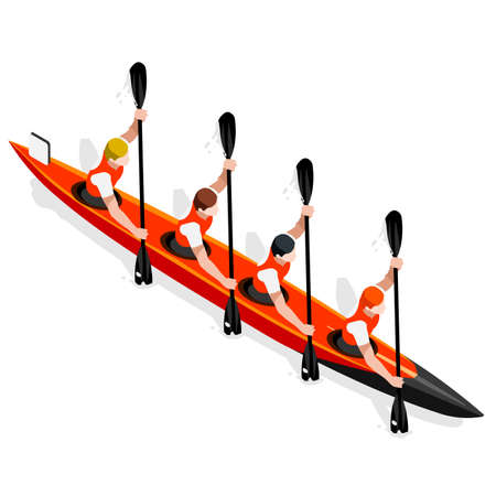 canoeist: Kayak Sprint Four 2016 Summer Games Icon Set.3D Isometric Canoeist Paddler.Sprint Kayak Sporting Competition Race.Sport Infographic Canoe Kayak Vector Illustration Illustration