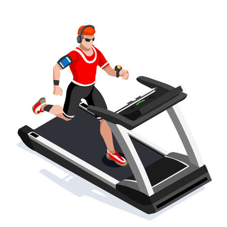 working out: Treadmill Gym Class Working Out. Gym Equipment Treadmill Running Athlete Runners Working Out Gym Class. 3D Flat Isometric Marathon Runners athlete training Vector Image.