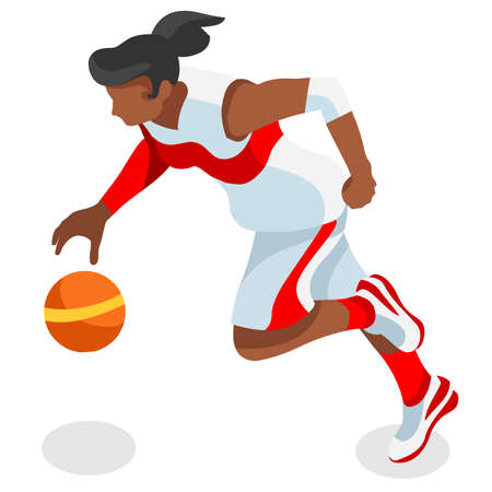 international basketball: Basketball Player Athlete  Summer Games Icon Set.3D Isometric Black Basketball Player Athlete.United States USA Sporting Competition.Sport Basket Infographic Basketball Vector Illustration.
