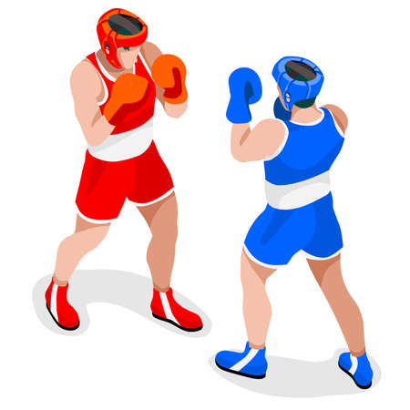 Boxing Players  Summer Games Icon Set.3D Isometric Boxer.Sporting Championship International Boxe Competition.Sport Infographic Boxing Vector Illustration