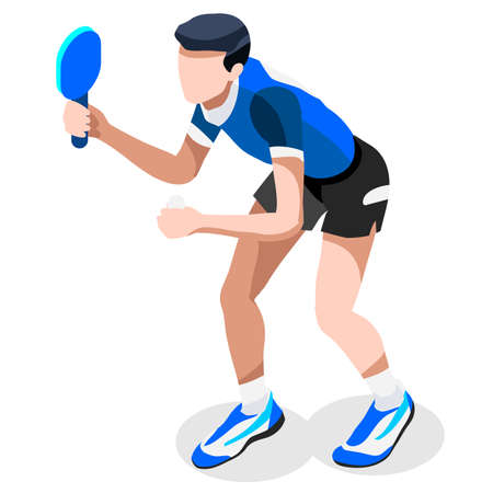 tennis player: Table Tennis  Summer Games Icon Set.3D Isometric   Athlete.Sporting Championship International Competition.Sport Infographic Table Tennis Vector Illustration Illustration