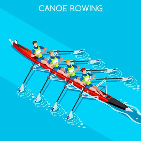 Canoe Rowing Quadruple Sculls  Summer Games Icon Set.3D Isometric Canoeist Paddler.Rowing Canoe Quadruple Sculls Sporting Competition Race.Sport Infographic Canoe Rowing Vector Illustration Ilustração