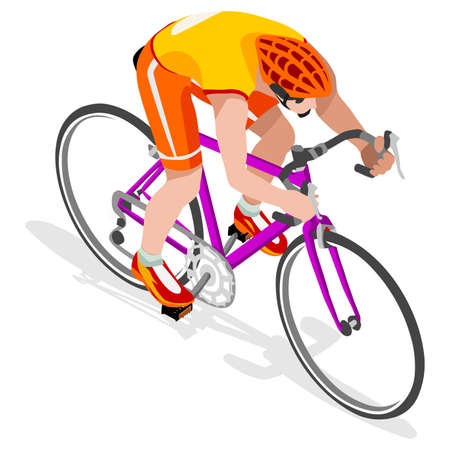 cartoon biker: Road Cyclist Bicyclist Athlete  Summer Games Icon Set.Road Cycling Speed Concept.3D Isometric Athlete.Bicycle Sporting Competition.Sport Infographic Cycling Road Race Vector Illustration. Illustration
