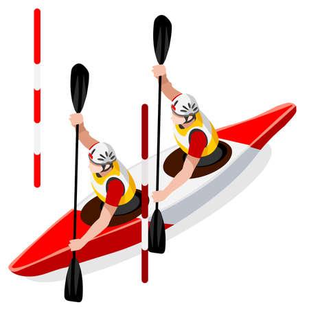 slalom: Kayak Slalom Doubles Canoe  Summer Games Icon Set.3D Isometric Canoeist Paddler.Slalom Kayak Sporting Competition Race.Sport Infographic Kayak Slalom Vector Illustration Illustration