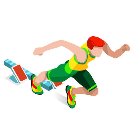 sports track: Running 100 Metres Dash of Athletics  Sports Icon Set.Speed Concept.3D Isometric Athlete.Sport of Athletics.Sporting Competition Race Runner.Sport Infographic Track Field Vector Illustration