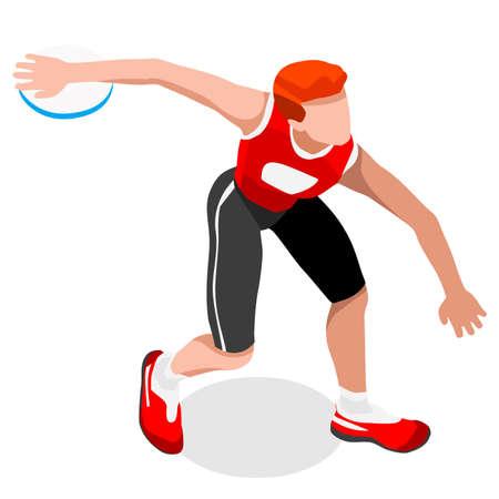 lanzamiento de disco: Atletismo lanzamiento de disco Juegos de Verano Icono isométrico Set.3D Athlete.Sporting Campeonato Internacional Competition.Sport Infografía Lanzamiento de disco Ilustración vectorial de atletismo Vectores