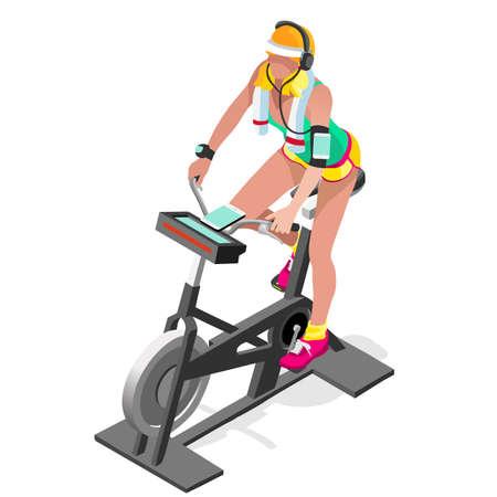 Heimtrainer Spinning Fitness Class.3D Wohnung isometrischen Spinning Fitness-Bike. Gym Class Ausarbeiten Radfahren Innenheimtrainer Fitnessraum Radfahren Fitnessgeräte. Gym Bike für Radfahren Vektor Bild.