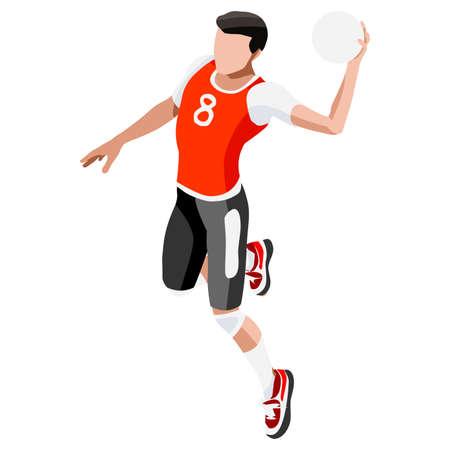 Handball  Summer Games Icon Set.3D Isometric Athlete.Sporting Championship International Handball Competition.Sport Infographic Handball Vector Illustration Illustration