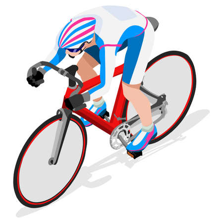 cartoon biker: Track Cyclist Bicyclist Athlete  Summer Games Icon Set.Track Cycling Speed Concept.3D Isometric Athlete.Sporting Bicycle Competition.Sport Infographic Cycling Track Race Vector Illustration.