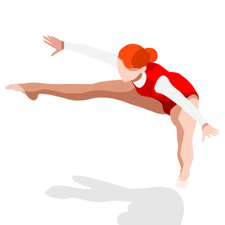 female athlete: Trampolining Gymnastics  Summer Games Icon Set.3D Isometric Gymnast.Sporting Championship International Competition.Sport Infographic Gymnastics Vector Illustration Illustration