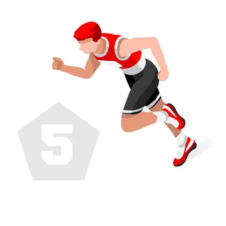 Pentathlon Summer Games Icon Set.3D Isometric Athlete Pentathlete.Modern Pentathlon Running Swimming Shooting Fencing Equestrian Sporting Competition.Sport Infographic Pentathlon Vector Image