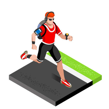 working out: Marathon Runners Athletic Training Working Out Gym. Runners Running Athletics race Working Out for international championship competition. 3D Flat Isometric Marathon Gym Training Vector Image.