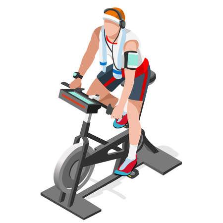 bicicleta vector: Bicicleta de ejercicio giro de la aptitud Class.3D plano isométrico de giro de la aptitud de la bici. Elaboración de la clase de gimnasia de ciclismo indoor de bicicleta de ejercicios ciclo de la gimnasia equipo de la aptitud. Gimnasio de la bici por imagen Ciclo del vector.