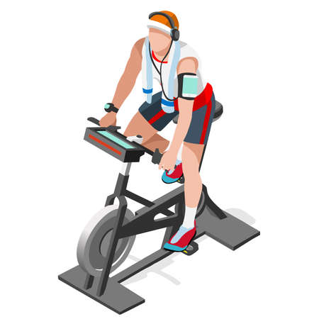 Hometrainer Spinning Fitness Class.3D Flat isometrische Spinning Fitness Bike. Gym Class Working Out indoor cycling hometrainer Gym Fietsen fitnessapparatuur. Gym Bike for Cycling Vector Image.