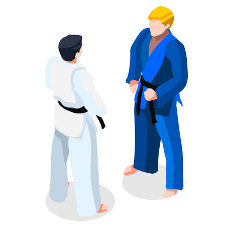 bjj: Judo karate Fight  Summer Games Icon Set.3D Isometric Fighting Athlete.Sporting Championship International Martial Arts Match Competition.Sport Infographic Judo Fight Vector Illustration