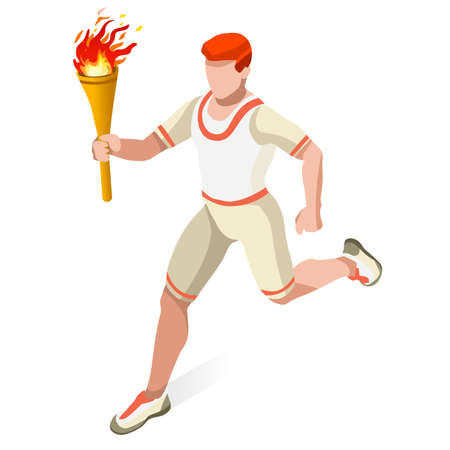 Torchbearer Relay Running Man  2016 Summer Games Icon Set.Speed Concept.3D Isometric Athlete.Sporting Competition.Sport Infographic Torchbearer Vector Illustration.