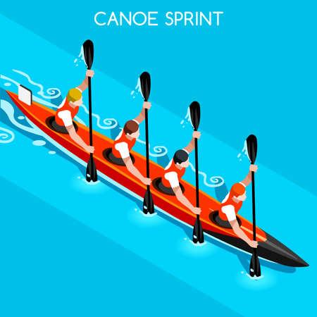 canoeist: Kayak Sprint Four  Summer Games Icon Set.3D Isometric Canoeist Paddler.Sprint Kayak Sporting Competition Race.Sport Infographic Canoe Kayak Vector Illustration