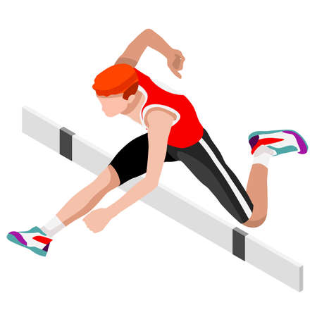 Athletics Hurdle Jumping Summer Games Icon Set.3D Isometric Athlete.Sporting Championship International Athletics Competition.Sport Infographic Athletics Hurdle Jumping Vector Illustration