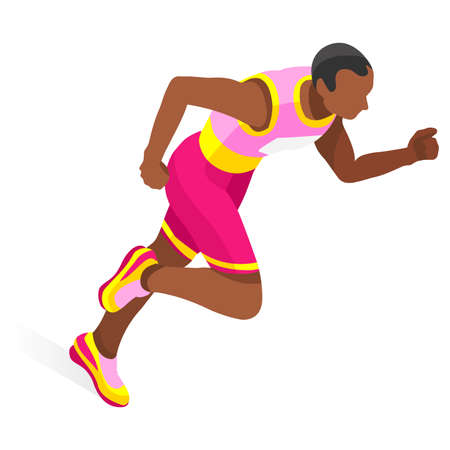 sports track: Running 100 Metres Dash of Athletics 2016 Sports Icon Set.Speed Concept.3D Isometric Athlete.Sport of Athletics.Sporting Competition Race Runner.Sport Infographic Track Field Vector Illustration
