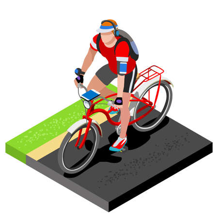 working out: Road Cycling Cyclist Working Out.3D Flat Isometric Cyclist on Bicycle. Outdoor Working Out Road Cycling Exercises. Cycling Bike for Bicyclist athlete Working Out training Vector Image.