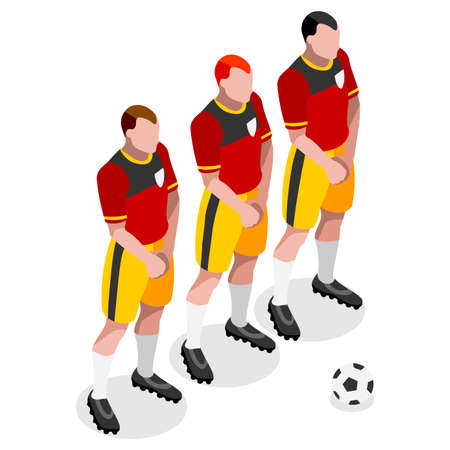 soccer team: Soccer Player Athlete  Sports Icon Set.3D Isometric Soccer Team Barrier Players.Sporting International Competition Championship.Sport Soccer Infographic Football Vector Illustration.