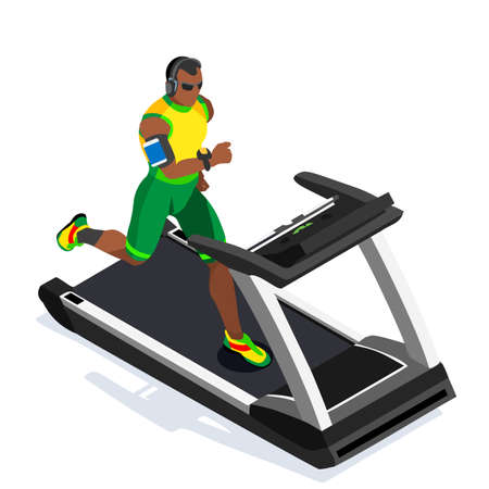 treadmill: Treadmill Gym Class Working Out. Gym Equipment Treadmill Running Athlete Runners Working Out Gym Class. 3D Flat Isometric Marathon Runners athlete training Vector Image.