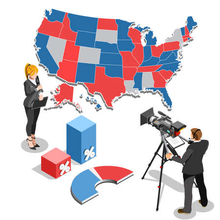 trump: Election infographic.Debate party convention hall.Conference business meeting lecture.Congress theatre auditorium audience.Politic delegate competitors affiliates crowd rally.Vector isometric people