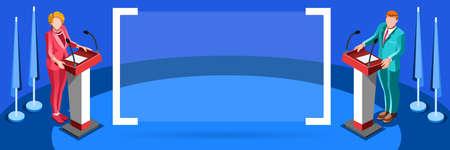delegar: reuni�n de negocios elecciones infographic.Debate convenci�n del partido hall.Conference lecture.Congress competidores teatro auditorio audience.Politic delegado afiliados multitud rally.Vector personas isom�tricas Vectores