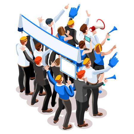 delegar: reunión de negocios elecciones infographic.Debate convención del partido hall.Conference lecture.Congress competidores teatro auditorio audience.Politic delegado afiliados multitud rally.Vector personas isométricas Vectores