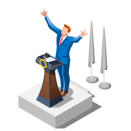 affiliates: Election infographic.Debate party convention hall.Conference business meeting lecture.Congress theatre auditorium audience.Politic delegate competitors affiliates crowd rally.Vector isometric people