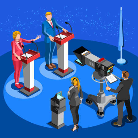 convention center: Election infographic.Debate party convention hall.Conference business meeting lecture.Congress theatre auditorium audience.Politic delegate competitors affiliates crowd rally.Vector isometric people