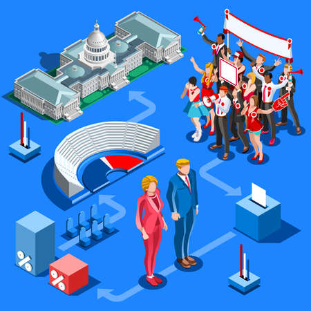 delegar: Election infographic.Debate party convention hall.Conference business meeting lecture.Congress theatre auditorium audience.Politic delegate competitors affiliates crowd rally.Vector isometric people