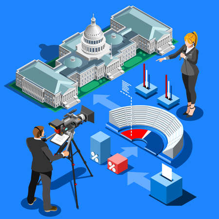 us congress: Election infographic.Us Washington DC capitol dome presidential conference meeting.Party convention hall.3D flat isometric senate congress politic tribune theatre auditorium.Vector isometric building