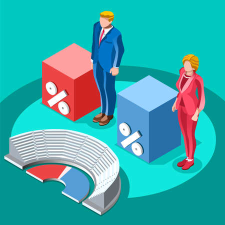 debate: Election infographic.Debate party convention hall.Conference business meeting lecture.Congress theatre auditorium audience.Politic delegate competitors affiliates crowd rally.Vector isometric people