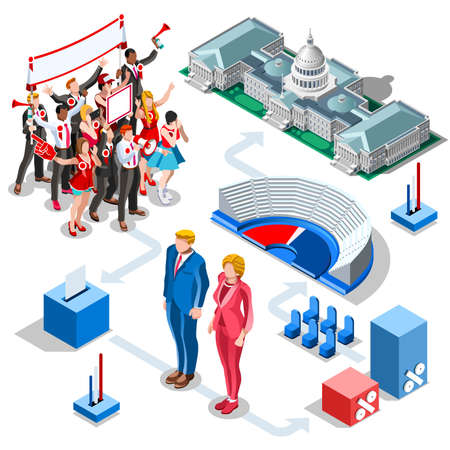 Election infographic.Debate party convention hall.Conference business meeting lecture.Congress theatre auditorium audience.Politic delegate competitors affiliates crowd rally.Vector isometric people Фото со стока - 64657861