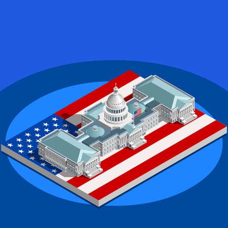 Elección infographic.Us Washington DC cúpula del Capitolio conferencia convención presidencial meeting.Party hall.3D isométrica congreso senado política tribuna teatro auditorium.Vector edificio isométrica plana
