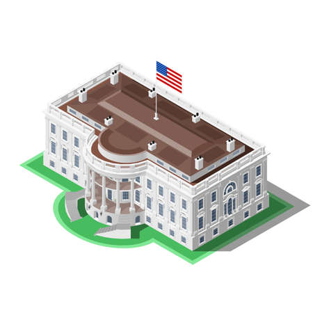halls: Election infographic.Us Washington DC capitol dome presidential conference meeting.Party convention hall.3D flat isometric senate congress politic tribune theatre auditorium.Vector isometric building