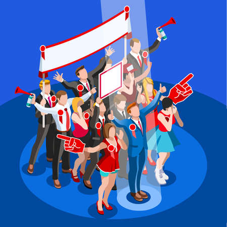 us congress: Election infographic.Debate party convention hall.Conference business meeting lecture.Congress theatre auditorium audience.Politic delegate competitors affiliates crowd rally.Vector isometric people