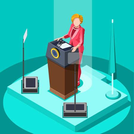 delegado: reunión de negocios elecciones infographic.Debate convención del partido hall.Conference lecture.Congress competidores teatro auditorio audience.Politic delegado afiliados multitud rally.Vector personas isométricas Vectores