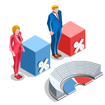 congresses: Election infographic.Debate party convention hall.Conference business meeting lecture.Congress theatre auditorium audience.Politic delegate competitors affiliates crowd rally.Vector isometric people