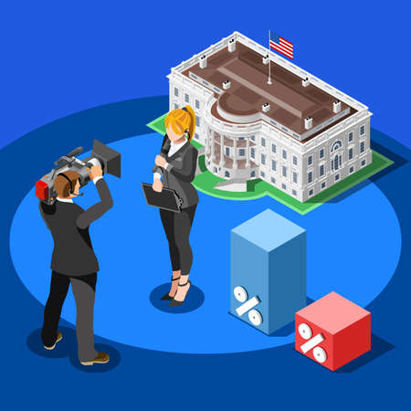 senate: Election infographic.Debate party convention hall.Conference business meeting lecture.Congress theatre auditorium audience.Politic delegate competitors affiliates crowd rally.Vector isometric people
