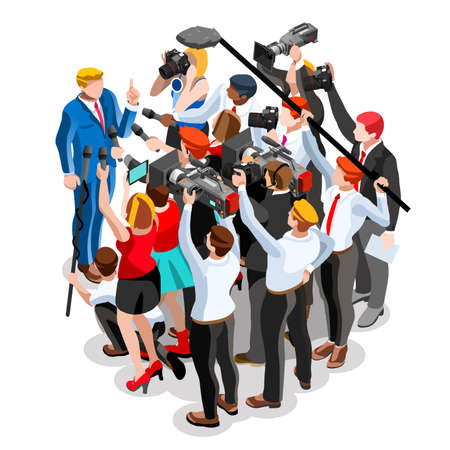 candidate: Election infographic.Debate party convention hall.Conference business meeting lecture.Congress theatre auditorium audience.Politic delegate competitors affiliates crowd rally.Vector isometric people