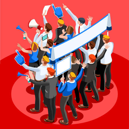 political: Election infographic.Debate party convention hall.Conference business meeting lecture.Congress theatre auditorium audience.Politic delegate competitors affiliates crowd rally.Vector isometric people