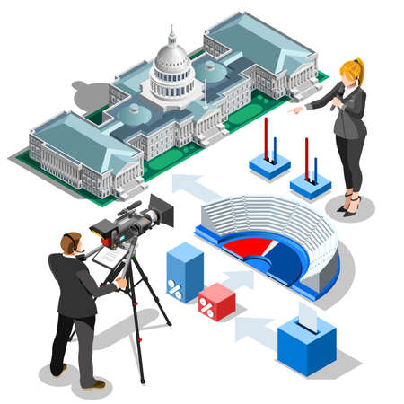 senate: Election infographic.Us Washington DC capitol dome presidential conference meeting.Party convention hall.3D flat isometric senate congress politic tribune theatre auditorium.Vector isometric building